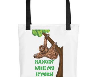 Sloth Hangin with my Homies purse, carry on, diaper bag, Tote bag