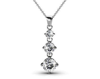 Cate & Chloe Delilah 18k White Gold Swarovski Pendant Necklace, Special-Occasion-Jewelry, Round-Cut Swarovski Crystals