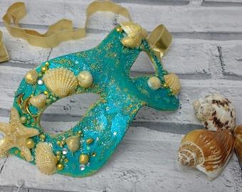 Merman mask, mythical masquerade mask, masked ball masks, beach themed mask, mask with shells, king neptune, sea mask, unique masks, UK shop