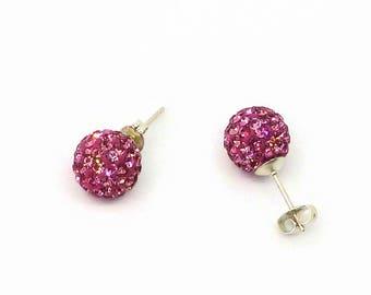 Pink crystal ball stud earrings, disco ball earrings, crystal sparkle ball earrings, earrings UK, stud shamballa earrings, ladies earrings