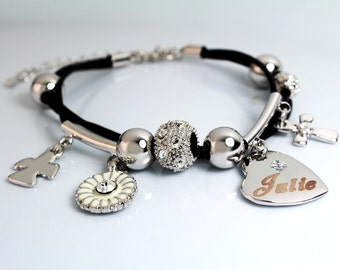 JULIE - Leather Bracelet With 18ct White Gold Plated Engraved Name Charm featuring Swarovski Element Crystals - Free Gift Bag & Box