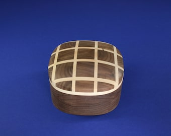 Walnut and Maple Matrix Super Ellipsoid Shaped Wooden Box #5