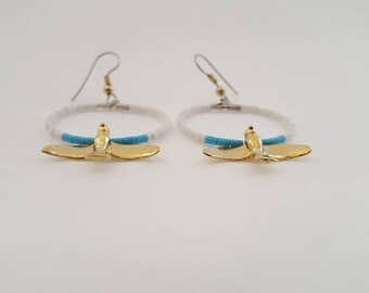 Dangle and Drop Pierced Heishi earrings with Gold Plated Birds.
