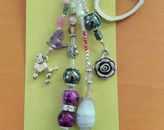 Purple glass bead keychain