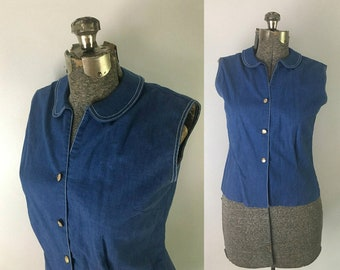 1950s Blue Cotton Sleeveless Blouse with Peter Pan Collar