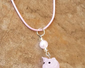 Adorable Pink Pig Necklace