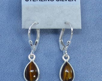 Dainty Tiger Eye Leverback Earrings - Sterling Silver - Pear Shape - 180901 - Free Shipping