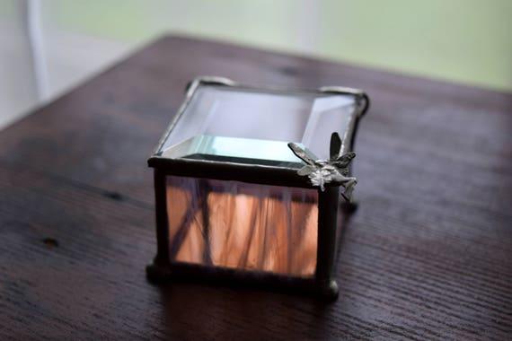 Small Vintage Handmade Glass Faery Box ~ Faeries, Magickal, Whimsy
