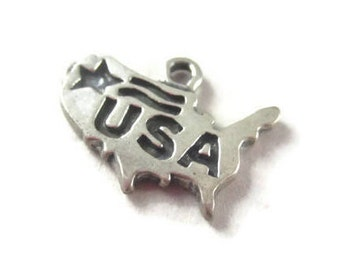 USA Charm Sterling Silver, Patriotic United States Pendant, Stars and Stripes, Fourth of July