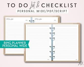 PERSONAL WIDE To Do List and Checklist - Printable Ring Planner Insert - Script Theme
