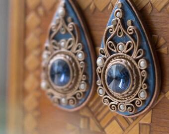 Ethnic blue Swarovski earrings, filigree earrings drop earrings, dark blue earrings ornament, classic big earrings, dangle and drop earrings
