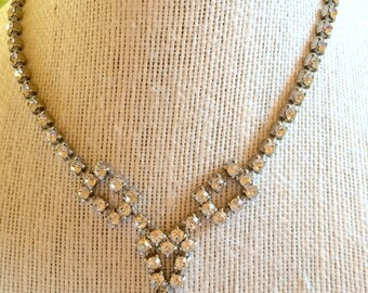 """Vintage Rhinestone Necklace.  Probably 1940s or earlier.  For a petitie woman, Length is 14"""" with add'l drop of 3/4 inches for center accent"""