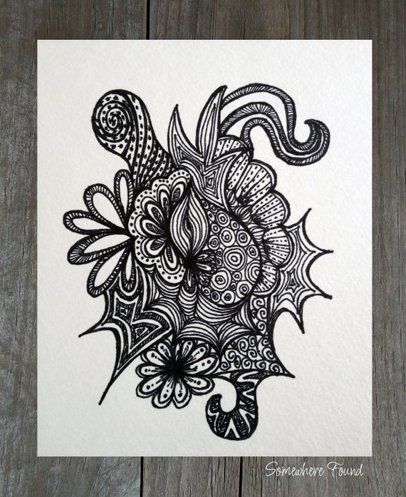 Items similar to spike print of original abstract ink drawing black and white on etsy
