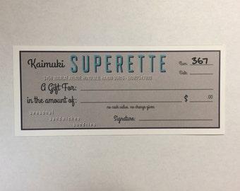 Kaimuki Superette Restaurant Gift Certificate
