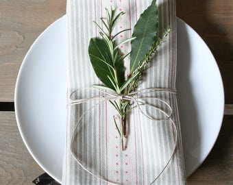 Sage Green Linen Union Striped Napkins - Set of 2