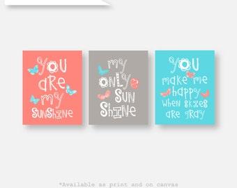 You are my sunshine Art, Butterfly Art for Kids Butterfly Decor Butterfly Art Prints Butterfly Nursery Decor Baby Girl Art (GS- 21) 014
