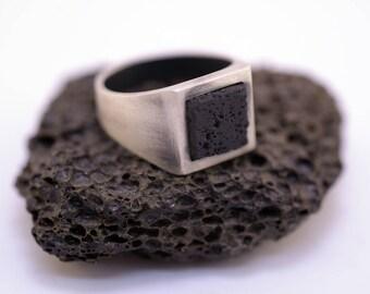 Black Square Lava-Black Lava Ring-Lava Ring-Lava Signet Ring-Men's Black Lava Ring-Men's Black Gem Ring-Signet Ring-Men Signet Ring-Rock-MJ