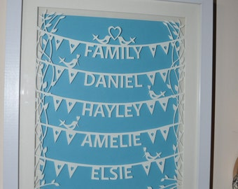 personalised family papercut