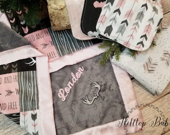 Personalized woodland pink and gray new baby gift-Pink Camo baby girl shower