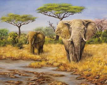 Elephants in the Savannah, Giclée Print, Wildlife Oil Painting, Elephant oil Painting, Realism Painting, Awesome Art, Realistic Painting