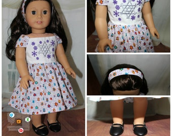 """Embroidered Hanukkah Dress for your 18"""" Girl Doll"""
