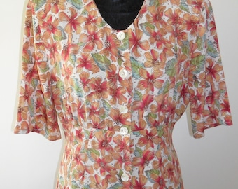 1940s Style Floral Tea Dress in soft rayon (silk type) fabric (LARGE)