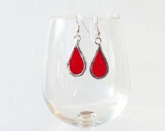 Stained Glass Earrings, Red Glass Earrings, Teardrop Earrings, Glass Jewelry, Dangle Earrings, Drop Earrings,Sparkly Earrings, Boho Earrings
