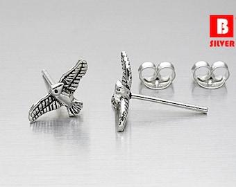 925 Sterling Silver Oxidized Earrings, Bird Earrings, Animal earrings, Stud Earrings (Code : K12E)