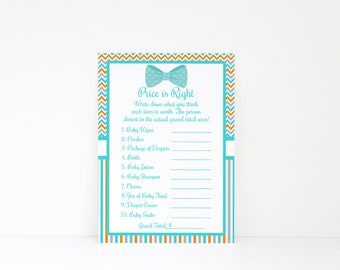 Bow Tie Price is Right, Bow Tie Baby Shower Game, Boy Baby Shower, Printable Baby Shower Game, Price is Right Game, Instant Download