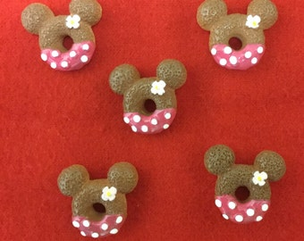 Set of 5 Pink Minnie Mouse Snack Resin