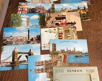 Vintage 1960s SOUVENIR POSTCARDS LONDON Set of 12 photo cards (Set 1)