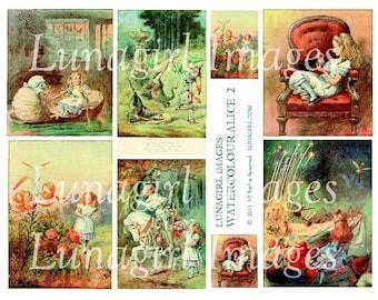 ALICE in WONDERLAND collage sheet DOWNLOAD watercolor vintage images art illustration Victorian storybook digital ephemera