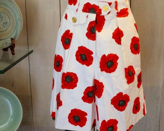 Free Shipping! Vtg. ESCADA Floral Shorts in Red and White- Sz Eu 36 - US Size 4