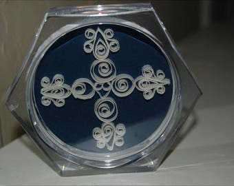 Blue background quilled cross coaster
