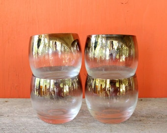 silver rimmed roly poly glasses, set of 4 . vintage silver ombre glasses . mid century barware . lusterware cocktail glasses