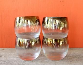 Silber umrandeten roly Poly Gläser, 4er-set. Vintage Silber Ombre Gläser. Mitte Jahrhundert Barutensilien. Lusterware-cocktail-Gläser
