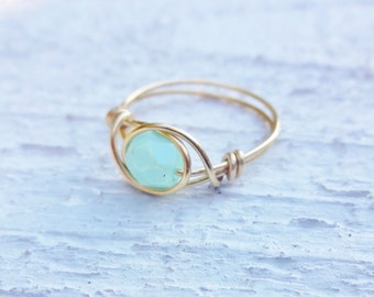 Gold ring, Gold wire ring, mint stone ring, mint ring, mint bead ring, wire wrapped ring, wire ring, simple ring, pastel ring, custom