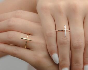 Tiny Dagger Ring, Sterling Silver, Gold Vermeil, Statement Ring, Midi Ring, Modern Lunaijewelry, Handmade, Unisex, Engagement Gift, RNG020