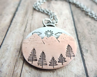 Silver and Copper Mountain Necklace with Sun, Clouds and Pine Trees -  Mixed Metal Nature Jewelry - Gift for Hiker - Outdoor Jewelry