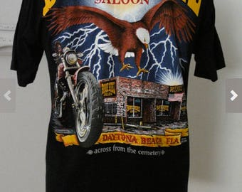 Vintage Biker T Shirt Boot Hill Saloon Daytona Beach Men Sz M