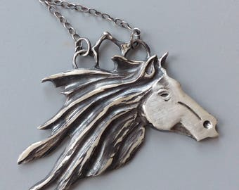 Horse necklace,Sterling Silver Horse Necklace, Silver Horse Pendant, Horse Necklace, Horse Head Pendant, Horse Head Necklace