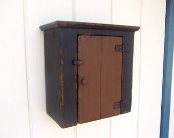 Farmhouse primitive wall cabinet painted small hanging furniture  cupboard for your shabby chic cottage country decor