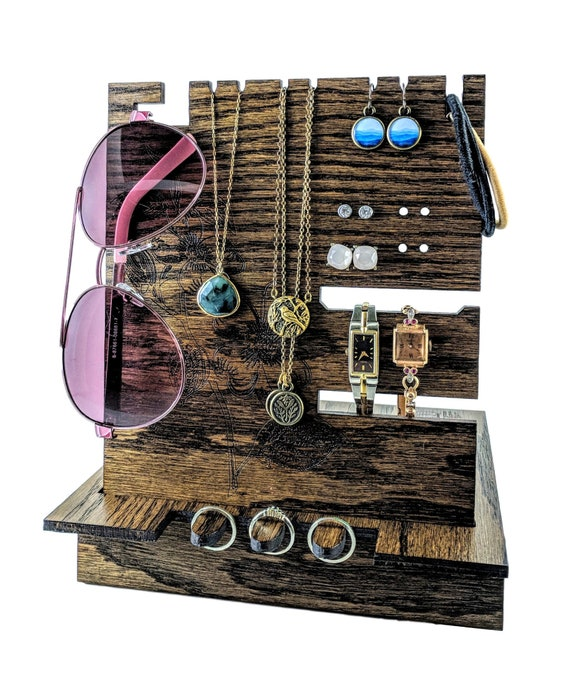Mothers Day Wooden Jewelry Organizer with Dogwood Engraving Multi