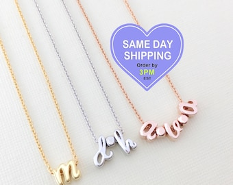 Initial Necklace • TINY & Dainty • LOWER CASE Charms • Rose Gold • Sleek • Cute Spacers • Good Gift Idea for Bridesmaid, Birthday and All