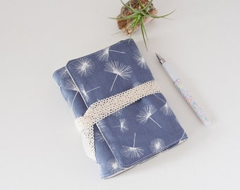 Blank Notebook – Cute Journal with Dandelion in Grey Fabric Cover - Gifts Under 30