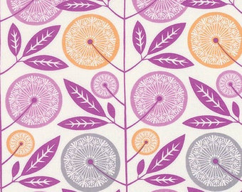 RAYON -- Fabric by the Yard --  Cali Mod Floral Stock in  Lavender by Joel Dewberry