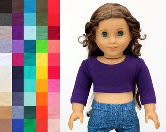 Fits like American Girl Doll Clothes - Long OR 3/4 Sleeve Cropped Top, You Choose Color | 18 Inch Doll Clothes