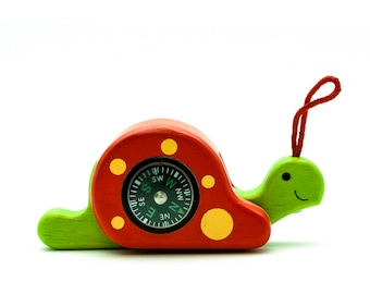 Wood Snail Figurine with Real Compass and Magnifying Glass, Wooden Snail Toy, Wooden Animal, Snail Gift, Learning Toy