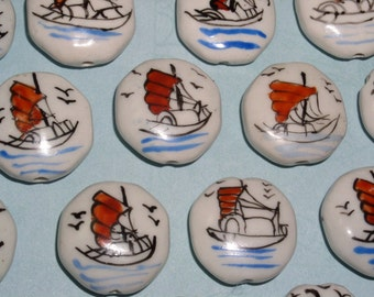 Ceramic Coins Beads with Painted Boats 22mm (6 beads)