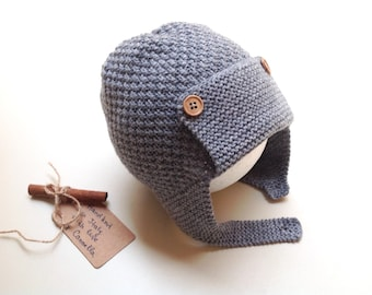 100% cashmere baby kid aviator hat, pilot hat, knit pilot, hand knit to order, size from 3 months to 7 years